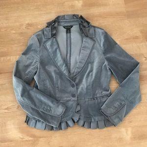 WHBM silver grey ruffle blazer